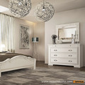 OPPEIN Home Furnitures Modern Matte Lacquer Dresser White colored Queen style dresser  European style bedroom makeup table