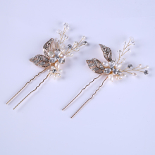 Romantic Fashion Rhinestone Crystal Pearl hair pins Headdress Golden Wedding hair accessories Women Tiara Bride Flower Hairpin