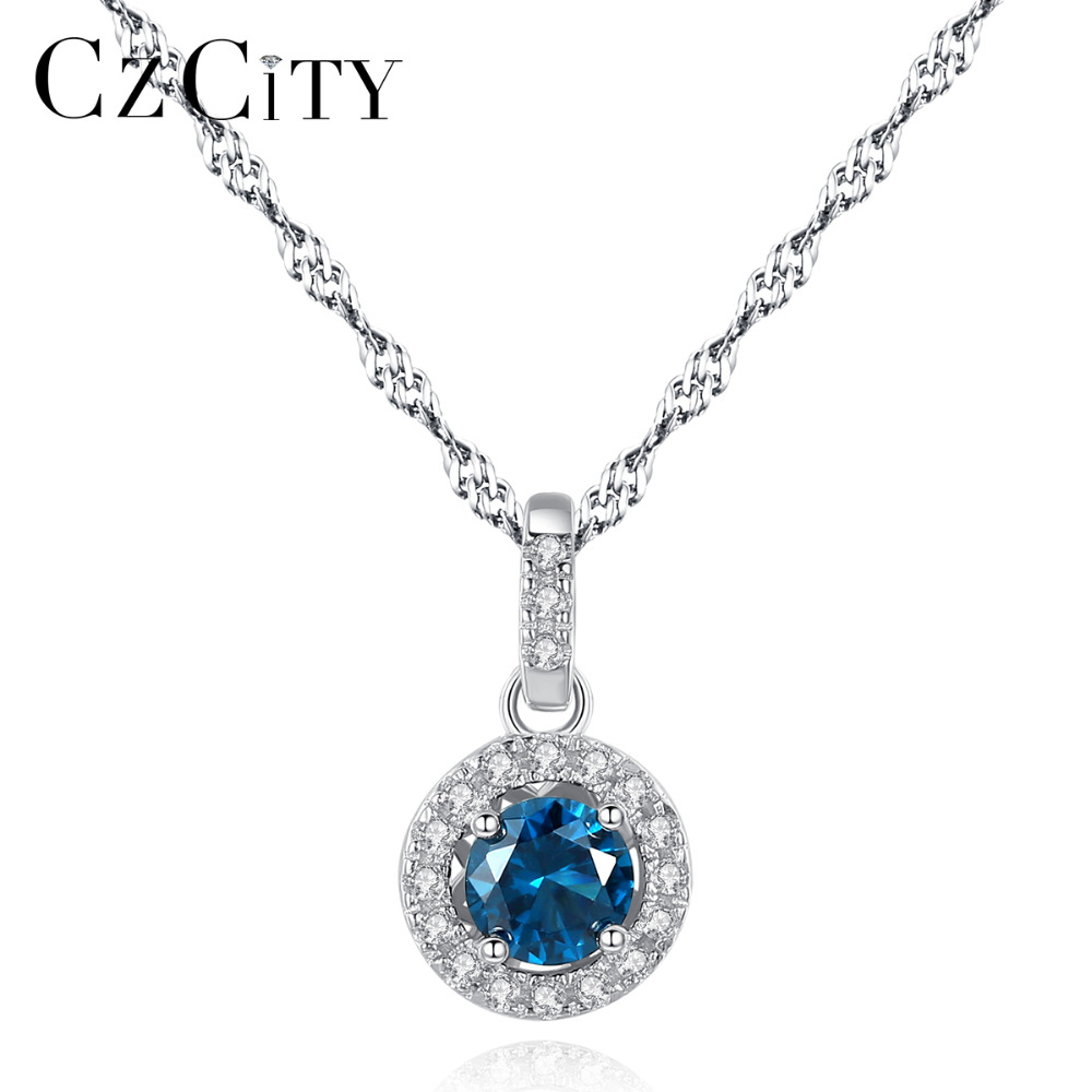 CZCITY Pure 925 Sterling Silver Necklace For Women Trendy Colorful Created Gemstone Pendant Necklaces Charming Christmas Jewelry