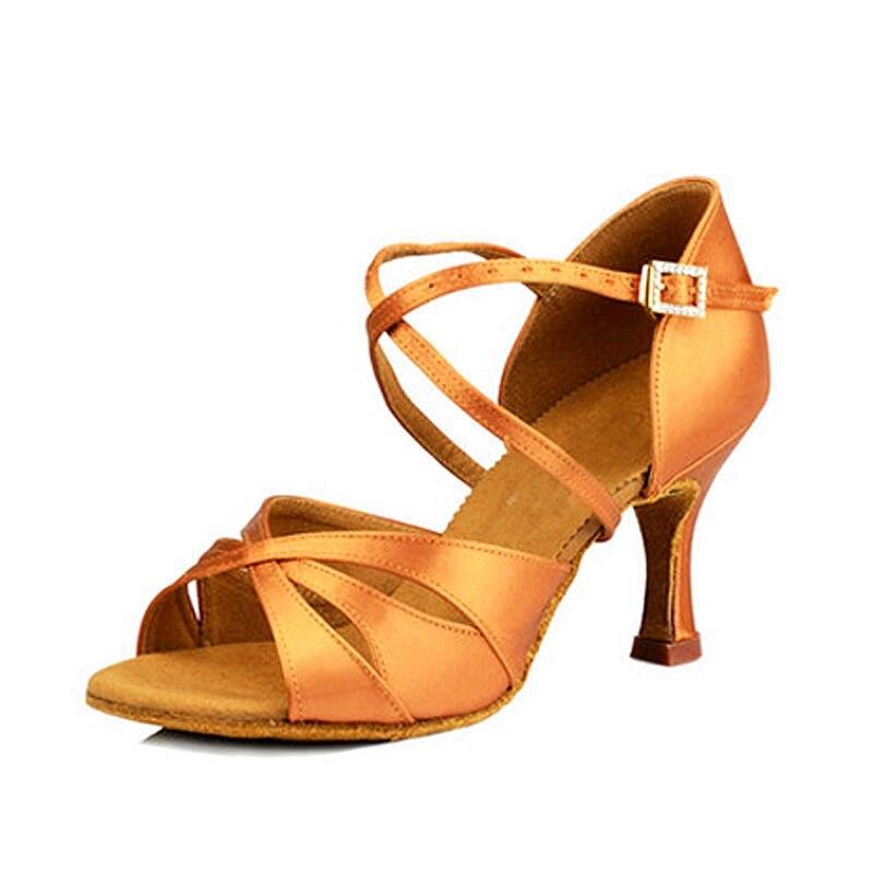HXYOO Salsa Dance Shoes Ballroom Shoes Woman Latin Dance Shoes Ladies 4.5-10cm Heel Height Tan Satin Comfortable Soft Sole EK02 n 116 1 ladies ballroom latin dance shoes crystal diamond dance shoes fast shipping worldwide