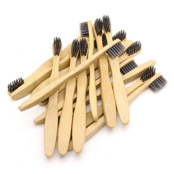 DR. PERFECT 100 Uds cepillo de dientes de bambú para niños al por mayor ecológico cepillo para cuidado dental de bambú de madera cabeza negra