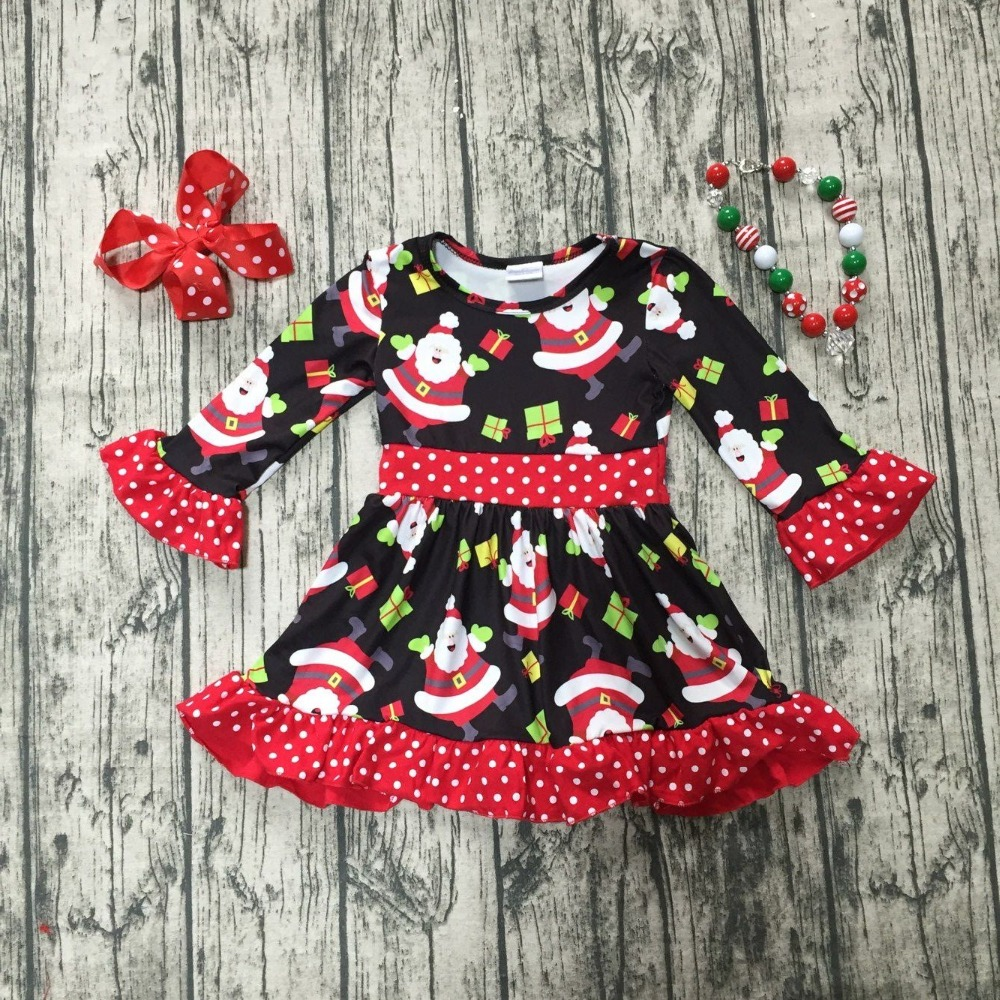 купить Christmas fall/winter baby girls cotton outfits red black ruffle dress Santa gift children clothes boutique match accessories недорого