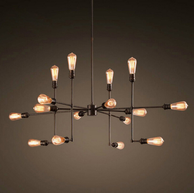 9/12/16/20 Lights American Countryside Vintage Style Pendant Light Wrought  Iron