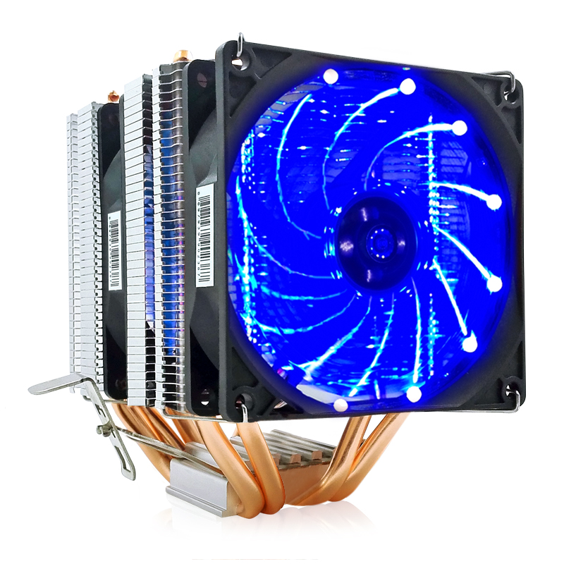 2/4/6 Heatpipes CPU Cooler Fan For AMD Intel 775 1150 1151 1155 1156 CPU Radiator 90mm LED Two Fan 3pin Cooling CPU Fan PC Quiet