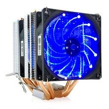 Disipador de calor para CPU, ventilador para CPU AMD Intel 4/6, 775, 1150, 1151, 1155, 90mm, LED, dos ventiladores, 3 pines, silencioso, 2/1156