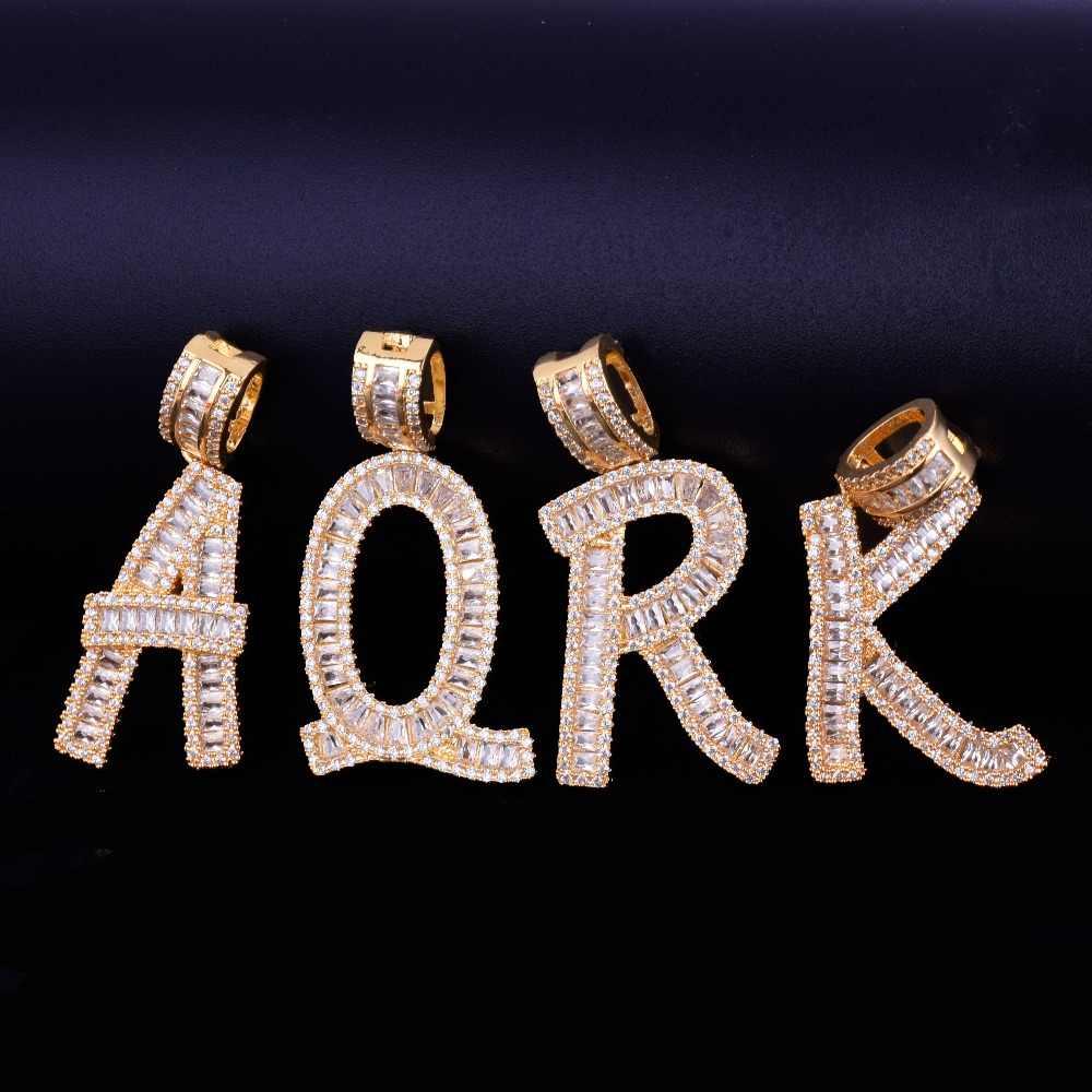 Iced OUT Baguette Initials ตัวอักษรจี้เงินทอง Bling Zirconia ผู้ชายเครื่องประดับ Hip Hop