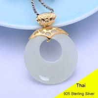 Nature Round Circle Hetian Jade 925 Sterling Silver Pendant Women Thai Silver Fine Jewelry Gift Necklace Accessories DIY Kit