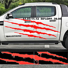2PC Claw Scratches and blood body side graphic vinyl car sticker for ford ranger2012 -2015