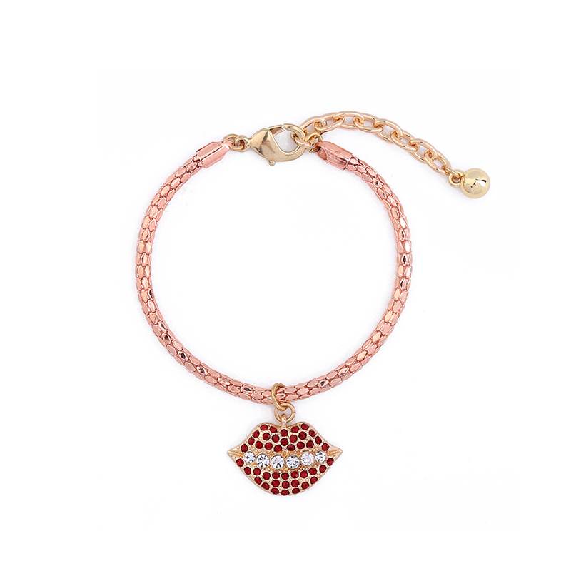 2017 Red Crystal Lip Bracelet For Women Cute Rose Gold Color Snake Chain Charm Bracelet Online Shopping Jewelry