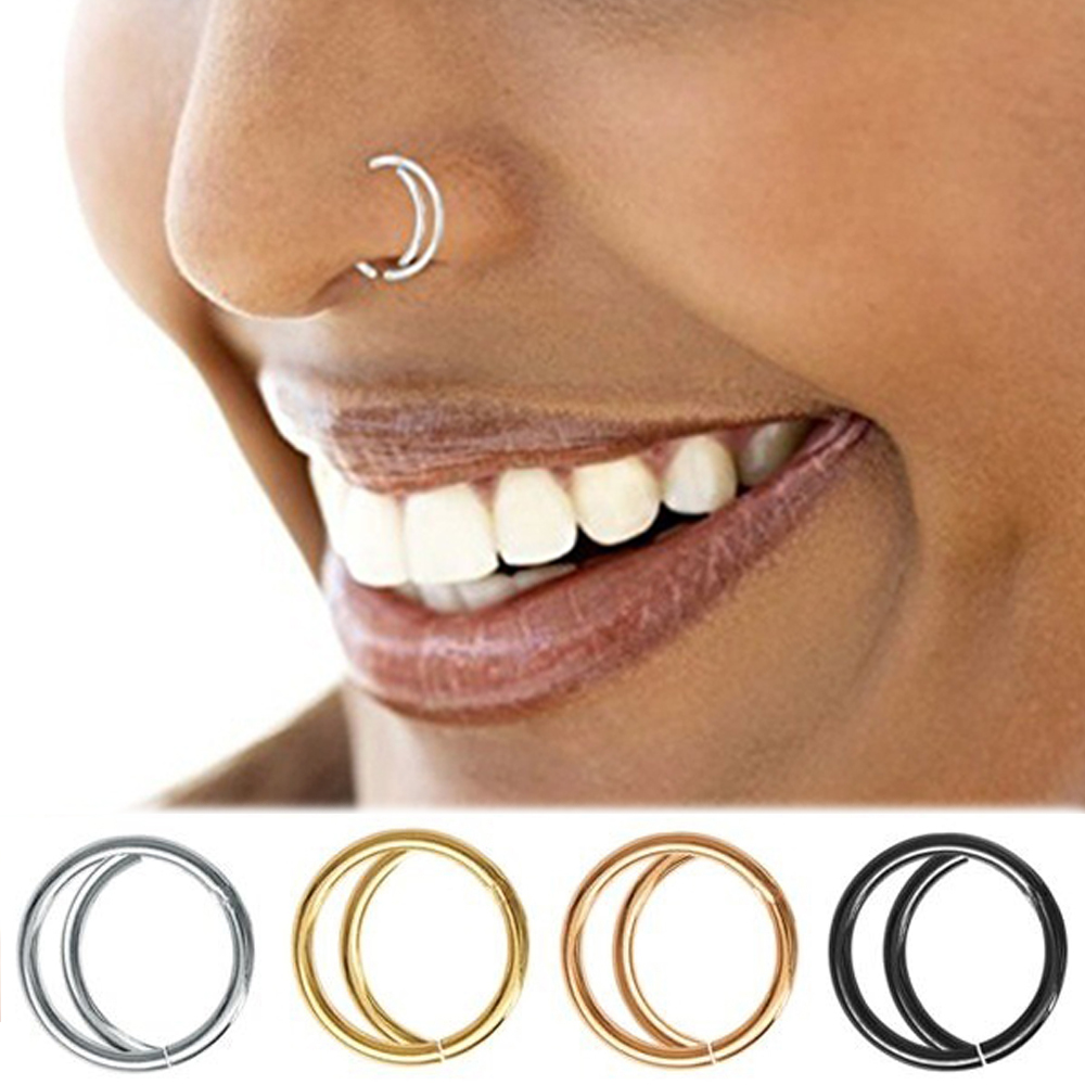 1PC 8/10MM Stainless Steel Trendy Moon Nose Ring Indian Nose Septum Hoop Nose Piercing Fashion Small Jewelry Accessories 5 Color
