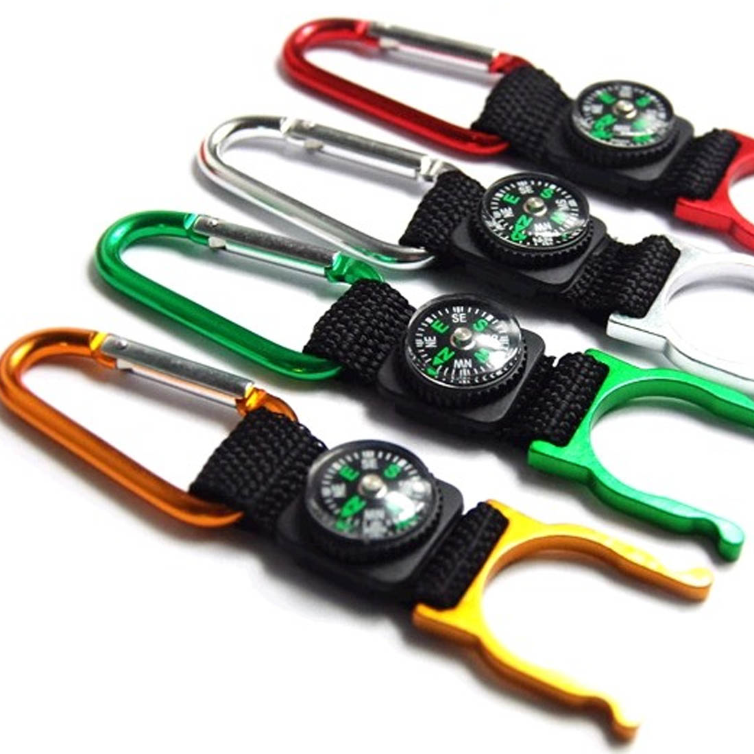 Hot Sell 1Pc Mini Buckle Compass With Carabiner Mini Compass Colors Random Camping Hiking Tools Hanging Ring Type