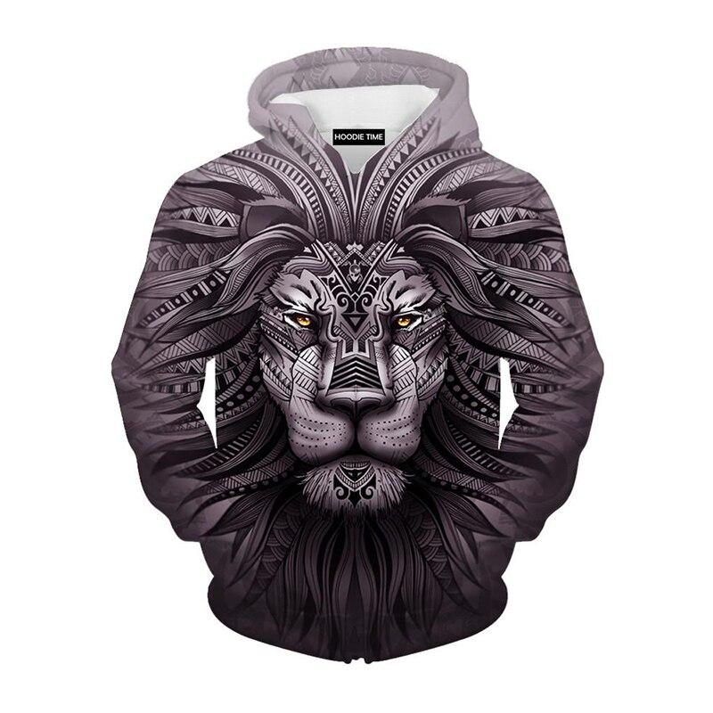 Cloudstyle Neue Mode Tier Stil Sweatshirts Männer Pullover Print Lion Hoodies Kapuzentrainingsanzug Herbst Dünne Top Hoody Plus