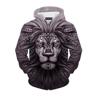 Cloudstyle New Fashion Animal Style Sweatshirts Men Pullovers Print Lion Hoodies Hooded Tracksuits Autumn Thin Top Hoody Plus