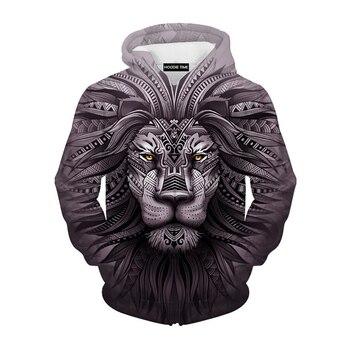 Cloudstyle nueva moda estilo Animal sudaderas jerseys hombres estampado de León chándales sudaderas con capucha otoño delgada Top con capucha Plus