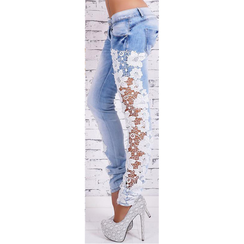 2018 Hot Selling New Style European And American-Style Sexy Lace Porous Lace Jeans Women's