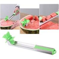 Watermeloen Slicer Cutter Tang Corer Windmolen Rvs Snijders voor Snijden Fruit Watermeloen Cubes Keuken Power Save