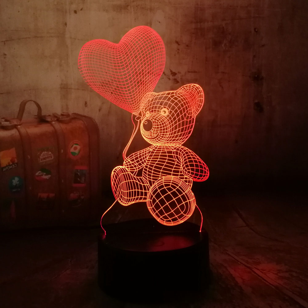 Cute New 2018 Baby Teddy Bear Hold Love Heart Balloon 7 Color Change Table Lamp 3D LED Night Light Decor Holiday Gift for Kids xmas gift series christmas decorations for home 3d lamp led night light luminaria santa claus tree snow man bear fish kids toys