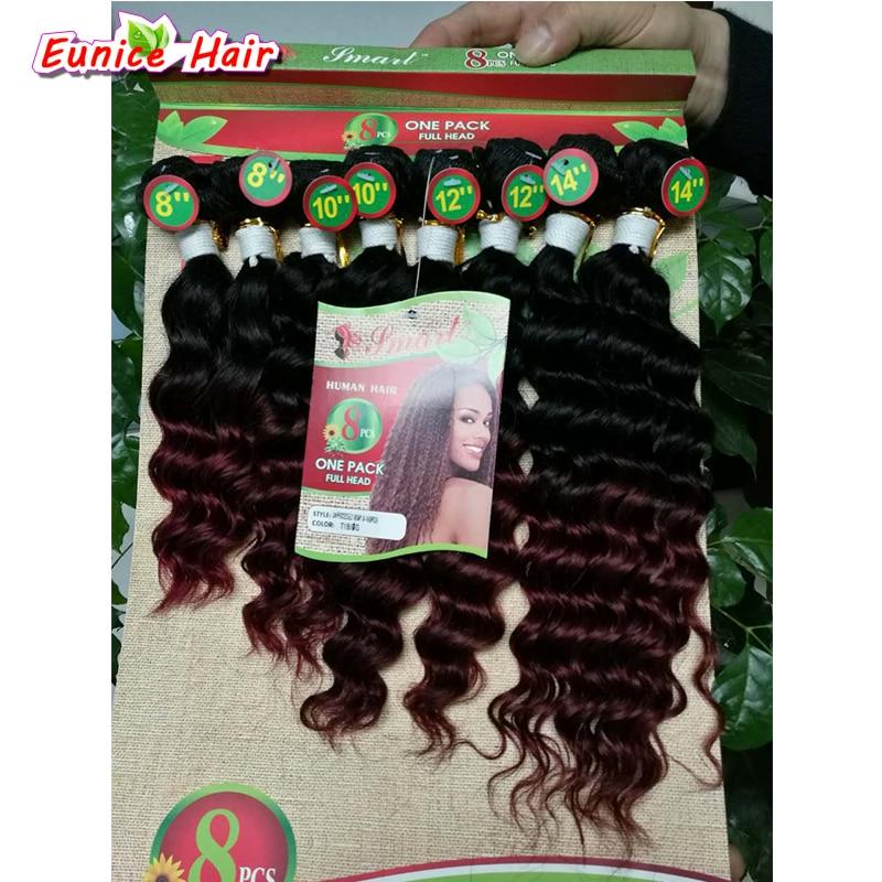 8pcs / lot Obehandlad kvalitet hårförlängning brasilianska - Syntetiskt hår - Foto 2