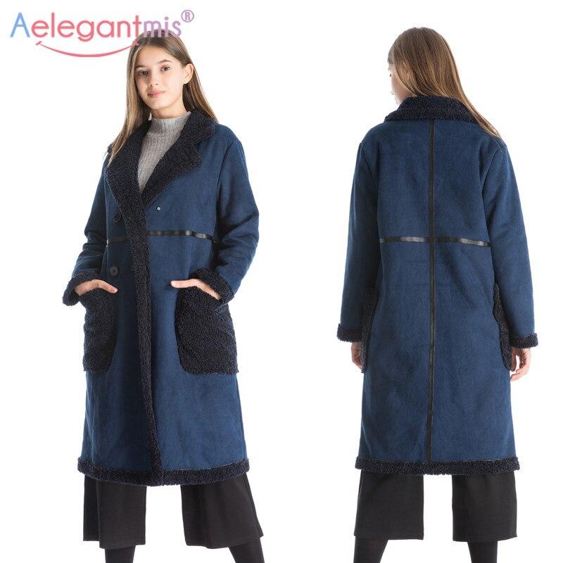 Tissu Manteau Aelegantmis Mode De En Femmes Marine Épais Réversible Chaud Laine Dames Pardessus Automne Bleu Hiver Outwear Long Daim fqAz0xf
