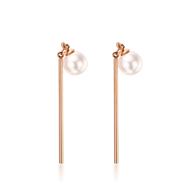 Rose Gold Color Long Tassel Earrings For Women Imitation Pearl Stainless Steel Wedding Drop Earring Cute Girl Jewelry