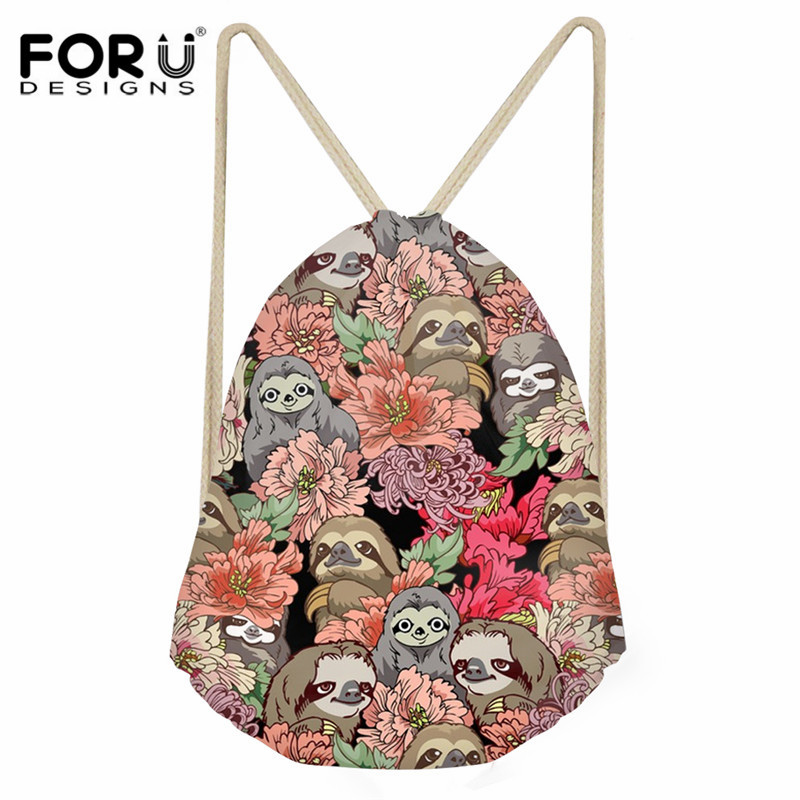 FORUDESIGNS Sloths Pattern Daily Backpack Sack For Girls Boys Fashion Small Drawstring Bag Ladies Travel Shoe Storage Bag String