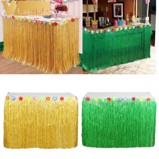 Colored Flower Inlaid PP Artificial Grass Table Skirt Hawaiian Tropical Luau Party Tableware Decoration 275cm x & Colored Flower Inlaid PP Artificial Grass Table Skirt Hawaiian ...