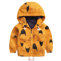 New Brand Baby Boys Fleece Trench Outerwear Cartoon Pizex Hooded Topcoats 2017 Autumn Winter Kids Funny