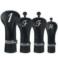 Big Teeth Golf Personalized Name Engraved Black Leather Golf Headcover Set Driver Fairway Hybrid Wood Protector Case