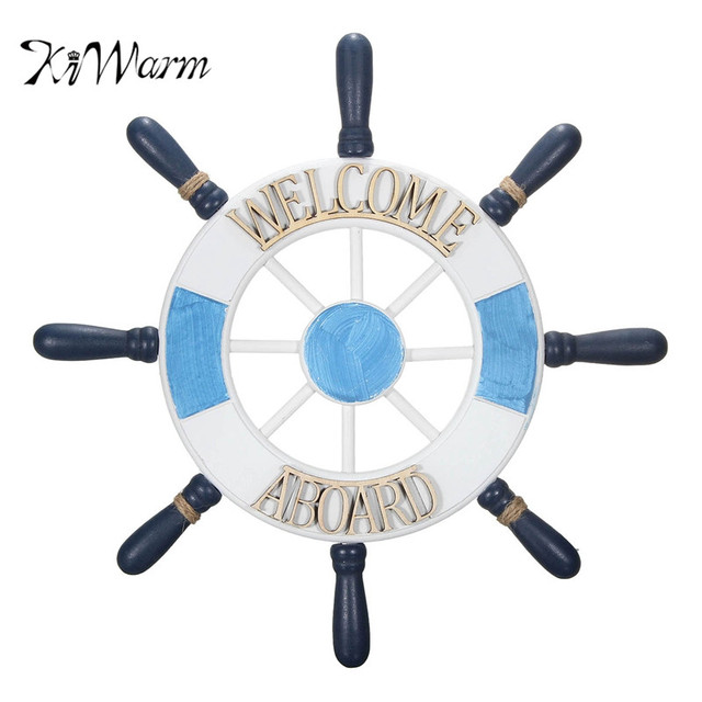 Kiwarm Wooden Boat Ship Steering Wheel Wall Plaque Nautical Beach Tropical Decor For Home Backdrop Hanging