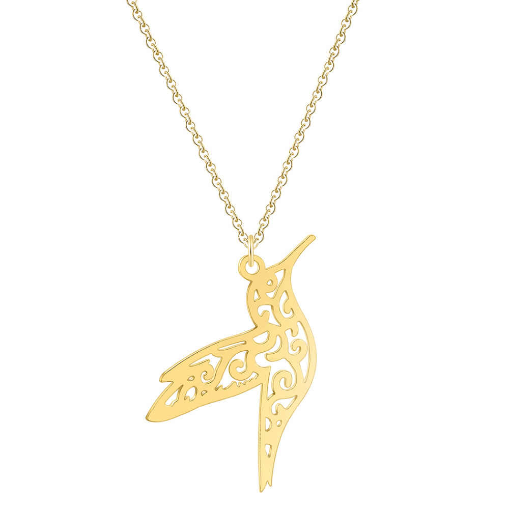QIAMNI Trendy Animal Hummingbird Swallow Pendant Necklace Geometric Origami Flying Bird Chain Necklace Birthday Jewelry Gifts