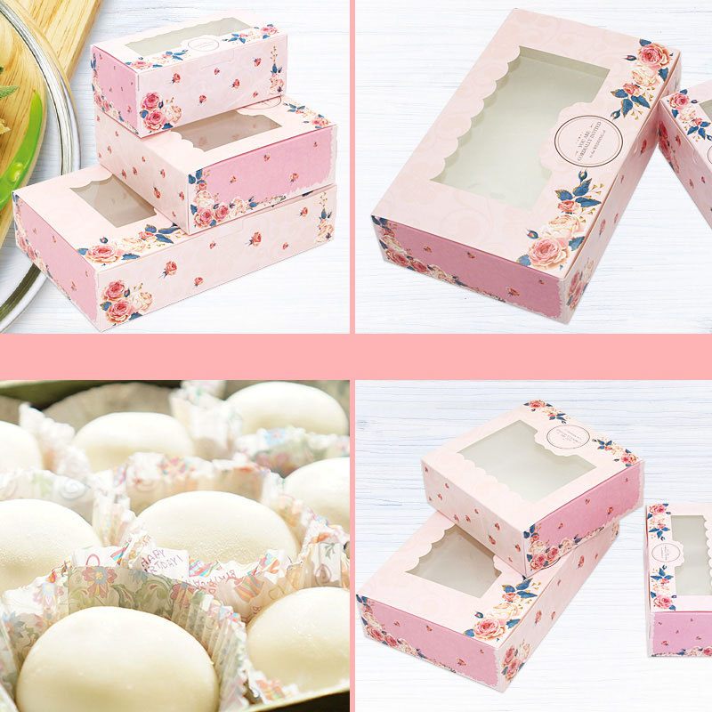 10PCS 2/4/6 Pack Mini Mooncake Paper Gift Box Transparent Window Candy Cookies Cake Box Wedding Favor Gift Bag Party Decor