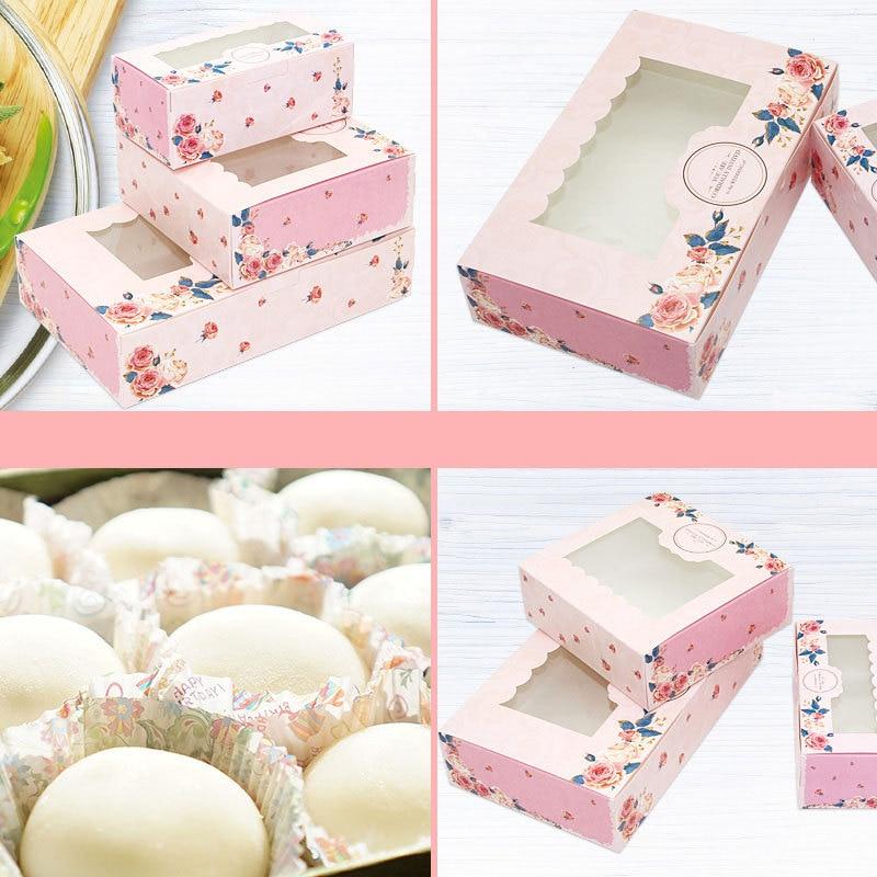 Caixa de presente transparente do casamento do favor de navidad do bolo dos doces e dos doces caixa de presente do papel do mooncake de 10 pces mini
