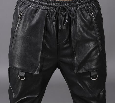 Faux Harem Élastique Cuir Hip Lâche Streetwear Coréenne Hiver Noir Moto Taille 2241 Automne Discothèque Hop Pantalon Mode En wqIU6tFn