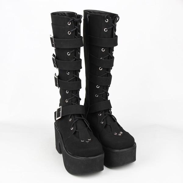 Details about Black Vegan Leather Lace Ankle Strap Sandal Platform Gothic Punk Goth High Heels