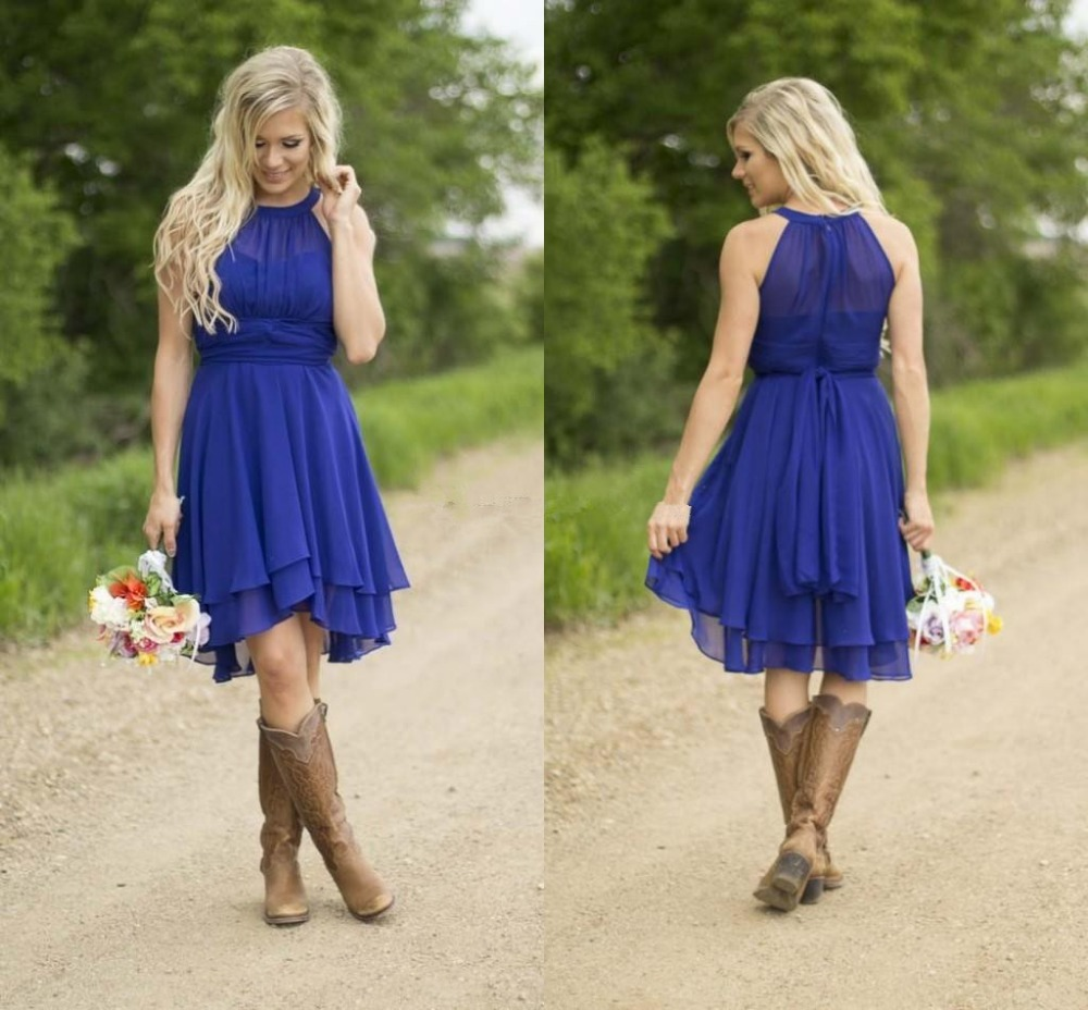 High quality beach wedding bridesmaid dress promotion shop for modest country western style royal blue short bridesmaid dresses 2017 beach chiffon simple knee length wedding party formal wear ombrellifo Images