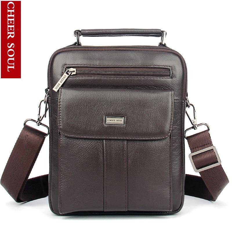 Cheer Soul 2018 New style 100% genuine leather shoulder bag men messenger bag Multifunction leisure bag