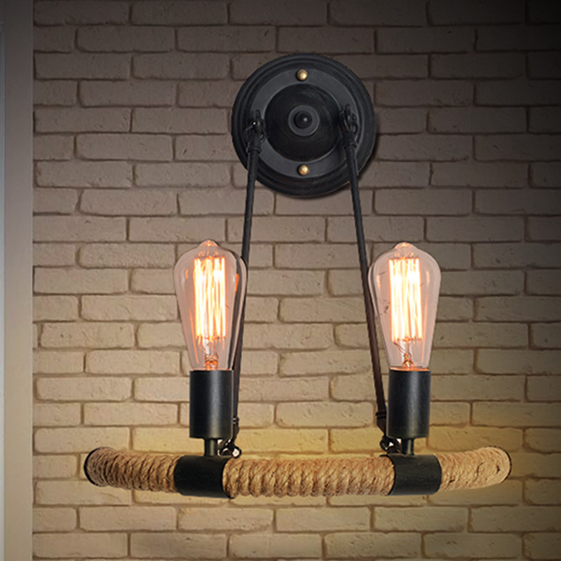 personality Edison Cafe Hotel The American village industrial wind rope wall creative nature wall lamp loft american edison vintage industry crystal glass box wall lamp cafe bar coffee shop hall store club