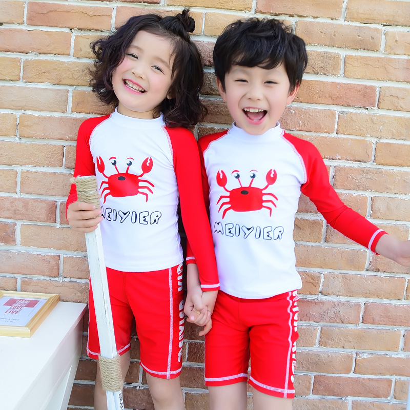 2018 Piece Boys Junior Girls Swimsuit Kids Wetsuit Bathing Suits Baby Swimsuit Girl Children Beach Wear Diving Swimming Suit