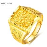 Гиацинт Для мужчин Полный Золото 999 кольца Мода классический Резьба Дракон Удачи 999 одноцветное из чистого золота кольцо для Для мужчин ювел