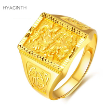 HYACINTH Men Full gold 999 Rings Trendy Classic Carving Dragon Good Luck 999 Solid pure gold Ring for Men Jewelry Gold Ring