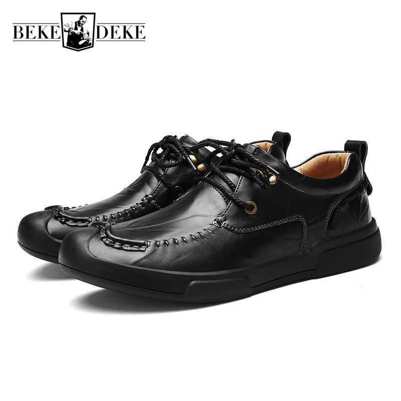 Business Men Pu Leather Casual Shoes Round Toe Lace Up Man Footwear British Retro Sapato Masculino Breathable Harajuku Shoes white casual shoes man genuine leather male footwear lace up round toe new arrival fashion british lacets chaussures top quality