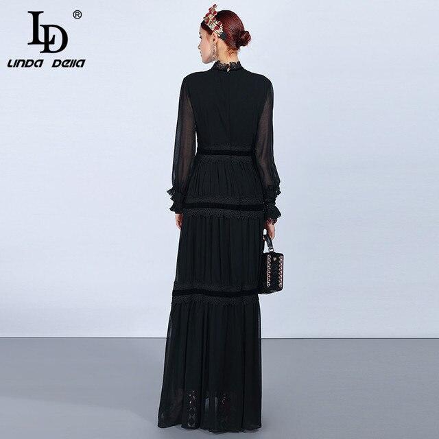 Женское платье с кружевом LD LINDA DELLA, длинное черное платье с длинным рукавом, платье в стиле пэчворк, платье с рюшами, праздничное платье 2019 4