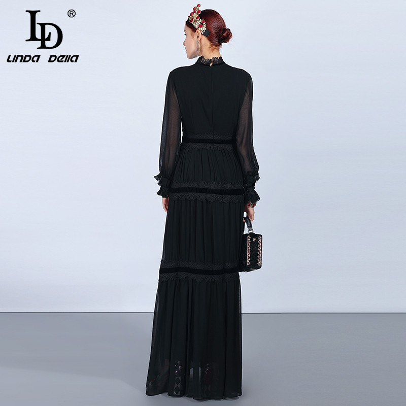 LD LINDA DELLA Fashion Runway Maxi Dresses Women's Long Sleeve Lace Patchwork Ruffles Vintage Black Dress Elegant Party Dress - 4