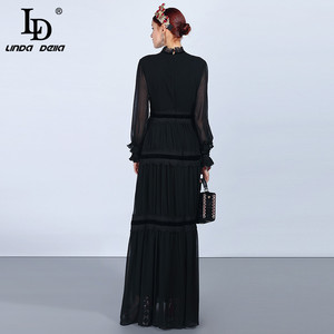 Image 4 - LD LINDA DELLA แฟชั่น Maxi ชุดผู้หญิงแขนยาวลูกไม้ Patchwork Ruffles VINTAGE Black Elegant PARTY DRESS