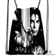 Custom Michael Jackson@04  Drawstring Backpack Bag Cute Daypack Kids Satchel (Black Back) 31x40cm#20180611-02-64
