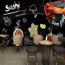Custom wallpaper hand-painted seafood lobster restaurant catering background wall painting advanced waterproof material