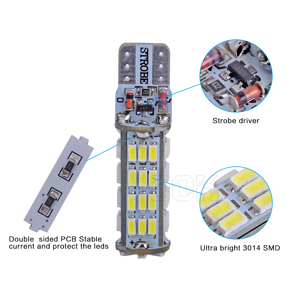 2PCS / LOT T10 LED strobu augstas kvalitātes Strobe flash w5w LED - Auto lukturi - Foto 5