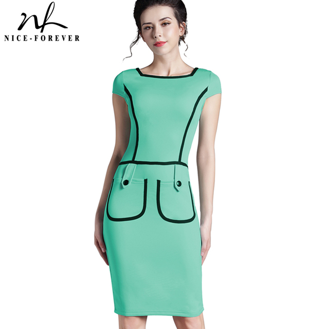 Nice-forever elegant Women summer Dress Button Short Sleeve Black Edges Vintage Bodycon Wear To Work Tunic slim Pencil Dress 789