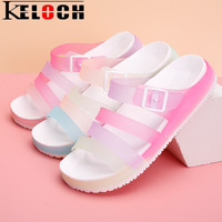 Keloch Womens Sandals Summer Casual Flats Women PU Jelly Shoes Sandalias Female Swimming Beach Shoes Women