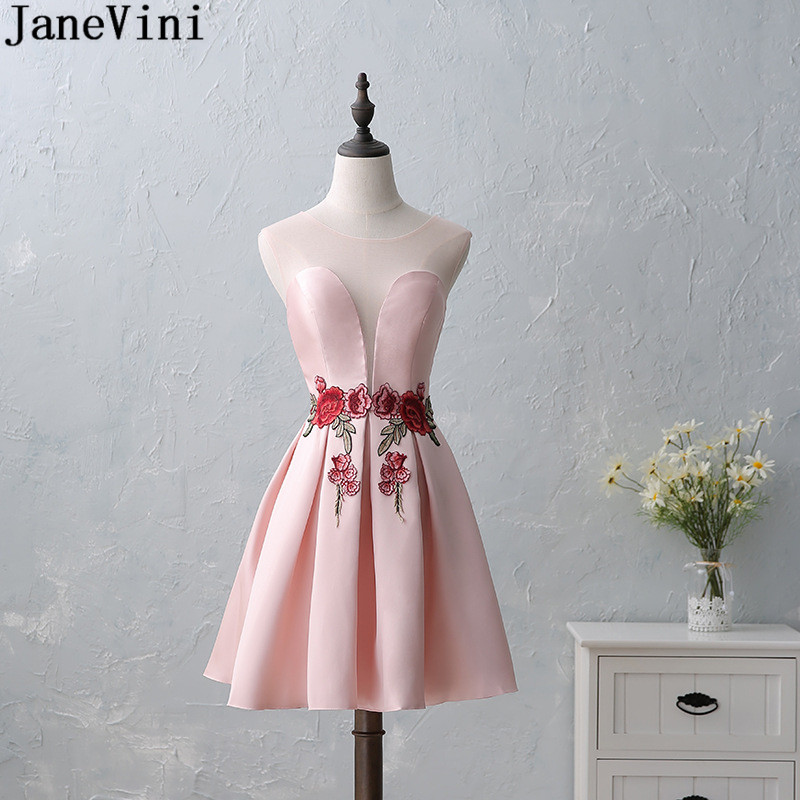 JaneVini Pink Short   Bridesmaid     Dresses   Embroidery Appliques Lebanon Sheer Neck Sexy Formal   Dress   Satin Knee Length Party Gowns